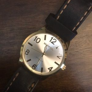 Miykon Water Resistant Watch Gold / Leather Band